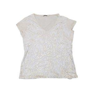 Tahari Tan & Gold Zebra Print Short Sleeve T-Shirt
